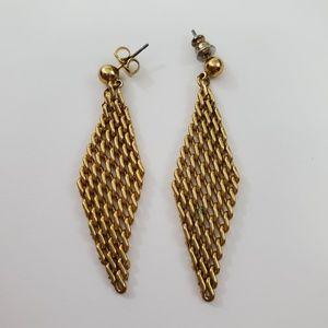 Mesh Earrings Gold Tone Chain Dangle Drop Boho Sta